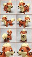 Growlithe Sculpture by LeiliaClay