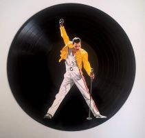 Freddie Mercury painted on vinyl record by vantidus