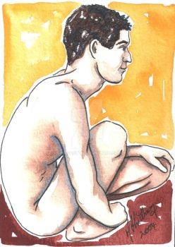 Male Nude. Red + Yellow 10 by Pinkpasty