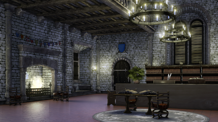 Medieval Quest Office night by anirhapsodist