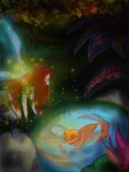 'The Fairy and the Gold Fish' by tessieart333