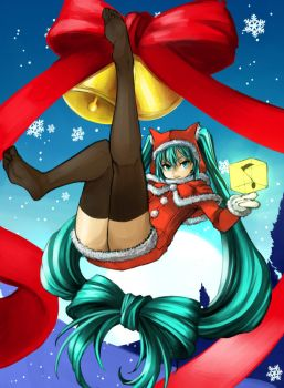 Merry Christmas Miku 2011 with Knee socks by Eroji