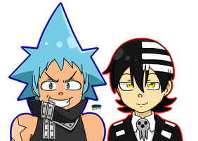 Art Trade - Kid And Black Star by RANDOM-drawer357