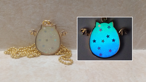 Winged Galaxy Bat Cat - Glow in the Dark Pendant by heatbish