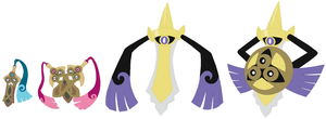 Honedge, Doublade and Aegislash Base by SelenaEde