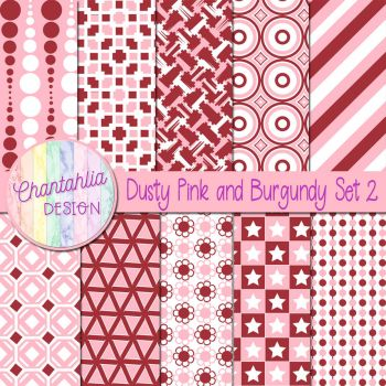Dusty Pink And Burgundy Set 2 by Chantahlia