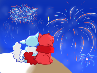 Fireworks by cutecatandrabbit