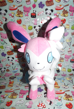 (PKM)Sylveon Plushie Front by KrazyKari