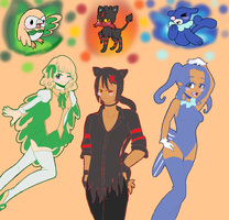 Alola Starters and gijinkas by mlpfangirl2424