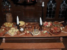 Medieval Banquet Hall Table Closeup by kayanah