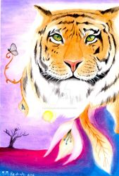 The tiger and the butterfly by MayaraHeidrich