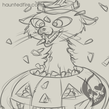 Candy Corn Cat - Sketch by cyclonaut