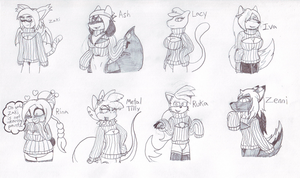 Zaki and Friends in Keyhole Sweaters by metalzaki