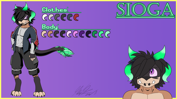 Sioga Character Sheet(Commission for MalaskanMike) by CHAOKOCartoons