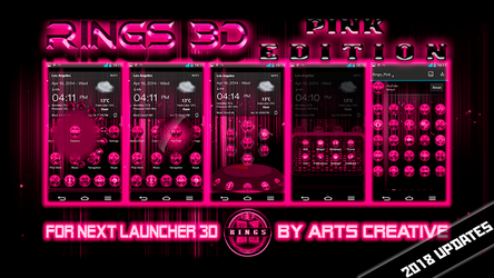 Next Launcher Theme Rings Pink by ArtsCreativeGroup