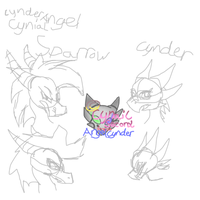 Someskecthes Sparrow And Cynder by AngelCnderDream14