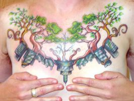 trees and buildings chestpiece by LunalottiRay