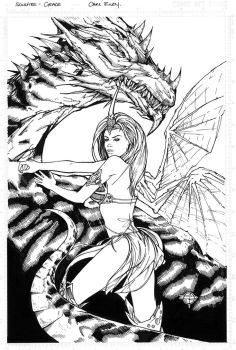 Soulfire inked line art by Carl-Riley-Art