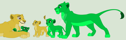 Yellow and Green Lions by MasterKastylinos222