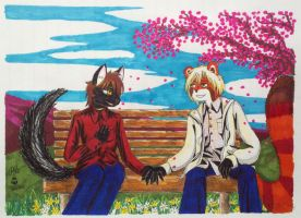 Kamiyu and Omen, Spring by Panzer-13
