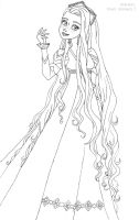 Rapunzel deluxe gown lineart by LadyAmber