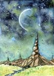 Sichelmond by dragonflywatercolors