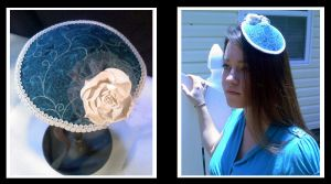 Teal and White Floral Hat by Mellowed-Mushroom