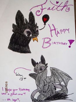 Toothless Happy Birthday Card by SteamTheSandwing