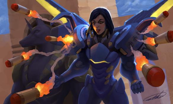 Pharah - JUSTICE RAINS FROM ABOVE by C0nstantini