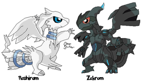 Chibi Reshiram and Zekrom by ClearGuitar