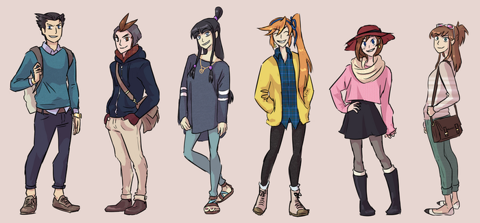 Ace Attorney and fashion by MustacheElm