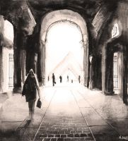 For sale original - Le Louvre and Pyramide - Paris by nicolasjolly