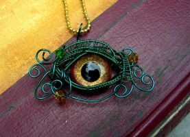 Wire Wrap - Evil Eye Dragon Green Gold Bronze by LadyPirotessa