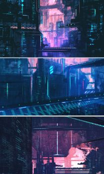 more sci-fi city mood concept sketches by iDaisan