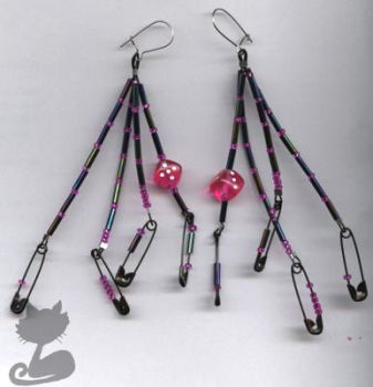 Black Safety Pin+Dice Earrings by Tattooed-Gumball