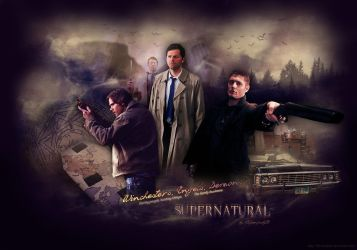 SPN - Winchesters, Angels, Demons (Wallpaper) by lilyanjudyth