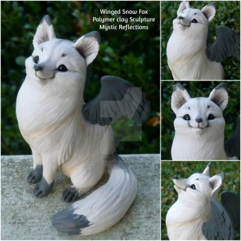 Winged Snow Fox Sculpture by MysticReflections