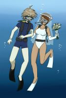 Makoto and Aoi's Underwater Wedding [Commission] by UW-FnarFnar