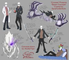 Croxtale Gaster concepts- with notes - commission by MuddyTiger