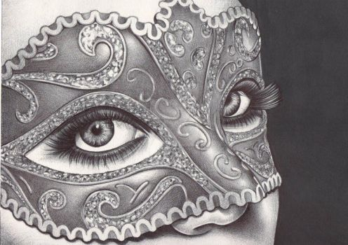masquerade - ballpoint pen drawing