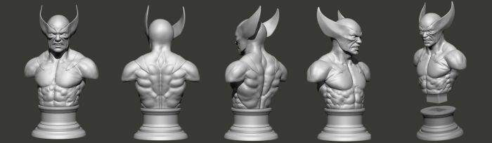 Wolverine Bust 3D model by Khempavee