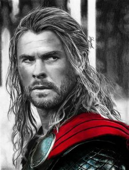 Thor (drawing) by shaynaJreddick