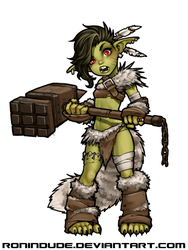 Evening Drawing - Goblin Barbarian by RoninDude