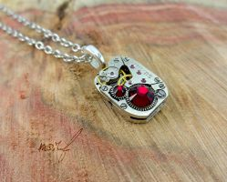 Steampunk Necklace Vintage Watch Movement Red by dirtym0rf