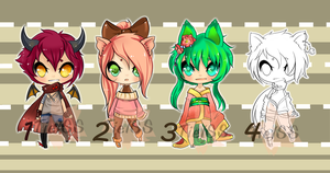 Adoptables open again 1/4 Paypal and points by Tielss