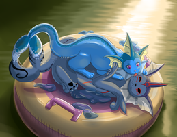 Gooey Vaporeon Pounced by Mewscaper