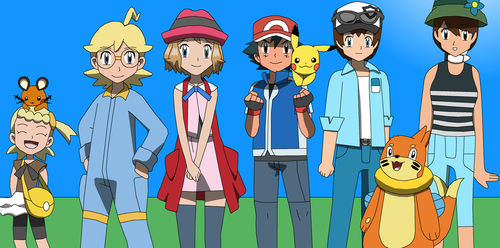 Ash and his Kalos Friends by PokemonXYLover1998