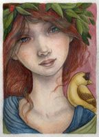 Portrait of a Lady and a Bird by WhimsicalMoon