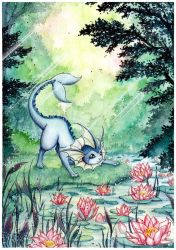 Vaporeon and the water lilies by LizTheFox