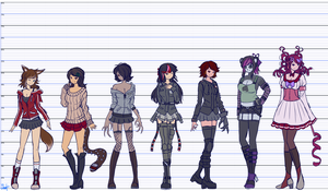 Height Chart - Heroines by Elsiikun